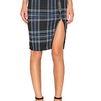 Pencil Skirt in Blue Plaid