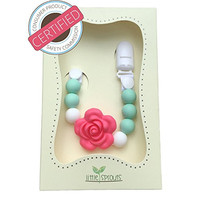 Great Holiday Gift! 2 in 1 Pacifier Clip - Teething Baby Silicone Beads with Unique Shapes - Girl's Binky Holder - Best for Teether Toys, Stuffed Animals, Soothie/MAM, Infant Blankets & Drool Bibs