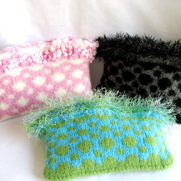 Clutch Purse in Pink Black or Turquoise Hand Knitted Felted Wool with Decorative Fringe