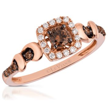 Le Vian 14K Strawberry Gold® Cushion Halo Ring Featuring 0.36 Carats Chocolate & Vanilla Diamonds