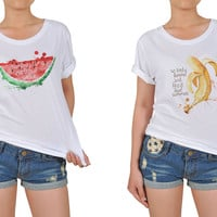 Women Summer Fruit Quote Graphic Printed Cotton T-shirt  WTS_12