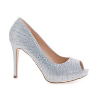 Barbara47 By Blossom, Rhinestone Studded Peep Toe Stiletto Heel Pumps
