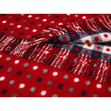 Merino Lambswool Spot Check Red Multi Throw Blanket