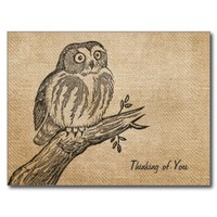 Burlap Vintage Owl Thinking of You Postcard from Zazzle.com