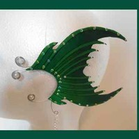 dark green light green mermaid tail earcuff mermaid accessories mermaid fluke