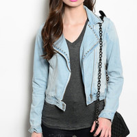 Light Denim Studded Jacket