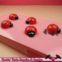 6 pieces Red Ladybugs Resin Decoden Kawaii Flatback Cabochon 15x13mm