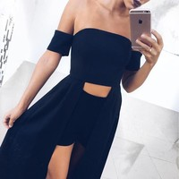 Patchwork Winter Sexy Club Crop Top Black Irregular Zippers One Piece Dress [11889270415]