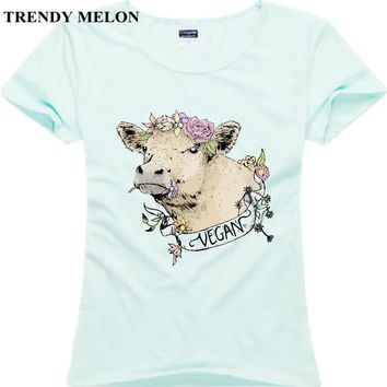 Trendy Melon Casual Women Cotton T shirt Vegan Friends Not Food Female Short Sleeve Tops White blue Pink Tees Hipster JV03
