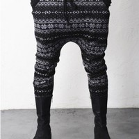 Drop Crotch Woolen Knited Snow Pattern Fleece Winter Pants