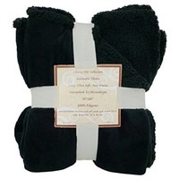 """Sherpa/ Microplush Reversible Throw Blanket- 50""""x 60""""-Black - Exclusively by Blowout Bedding RN# 142035"""
