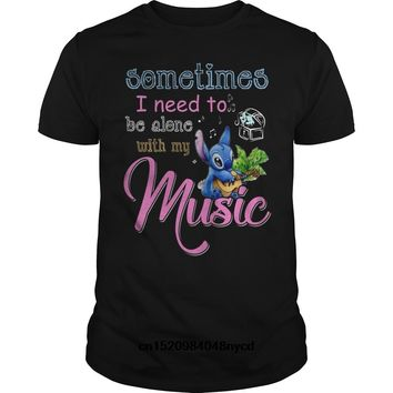 Gildan funny t shirts Sometime Stich Need To Be Alone With My Music 2018 Fashion tshirt  men t-shirt