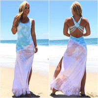 Rosanna Aqua Tie Dye Maxi Dress By SKY