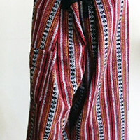 mens unisex patterned red fishermans hill tribe pants free size 4C