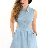 Cut out mini dress with metal collar tips :: GiGi Vintage