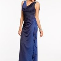 Ombre Glitter Dress with Beaded Shoulder Applique