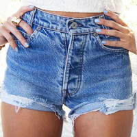 Fashion Women  Girls Sexy Summer Jeans Shorts  High Waist  Denim S M L XL