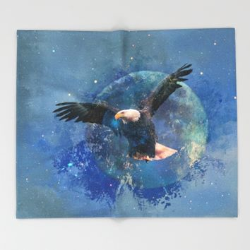 Eagle Moon Throw Blanket by Theresa Campbell D'August Art