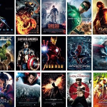 MX010 Hot Classic DC Marvel Movie Super Heroes Batman Ironman Hulk Thor Poster Art Silk Light Canvas Home Room Wall Print Decor