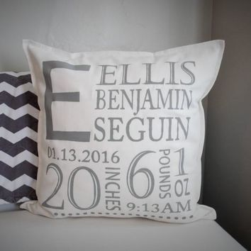 Initials personalized birth pillow cover