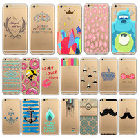 Free Shipping Ultra Soft TPU Painted Clear Phone Case For iPhone 6 plus 6s plus  5.5 inch  WHD1292(41-60)