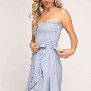 Women's Wrap Dress with Smocked Tube Top Bodice