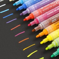STA 14 Colors Acrylic Markers Multifunction Candy Color Highlighter Waterproof Paint Marker Pen for For School Supplies