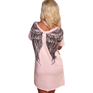 Back Angel Wings Print Dress 2016 Women Casual Short Sleeve Dress Loose Mini Summer Dresses Plus Size Women Clothing Vestidos