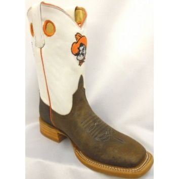 Anderson Bean Cowboy Boots OSU White Top Toast Bison Kids Cowboy Boots