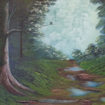Hand painted oil called After The Rain in the Bob Ross painting style
