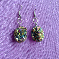 Genuine Gold/Purple/Green Druzy Geode earrings [PERSONAL COLLECTION] #8