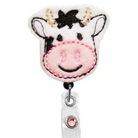 Cute Cow - Badge Holder - Nurses Badge Holder - Cute Badge Reels - Unique ID Badge Holder - Felt Badge - RN Badge Reel
