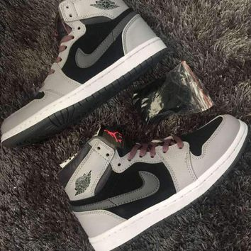 [Free Shipping ]Nike Air Jordan 1 Retro Gray / Black / Pink  Basketball Sneaker