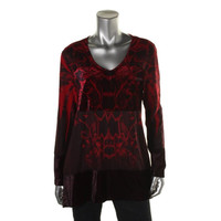 Style & Co. Womens Textured Printed Pullover Top