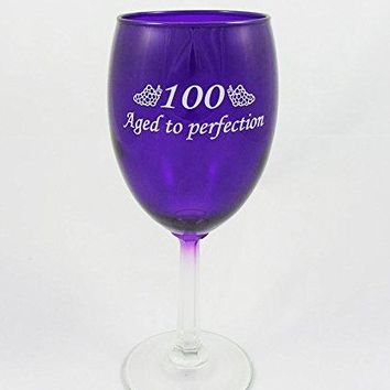 100 Aged to Perfection Wine Glass for 100th Birthday Gift