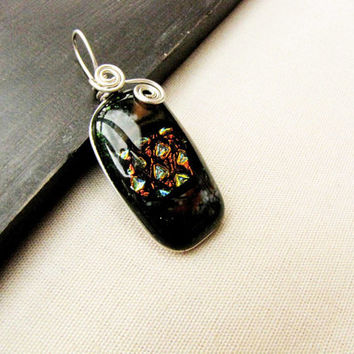 Black Gray Dichroic Orange Yellow Blue Sterling Silver Wire Wrapped fused Glass Pendant