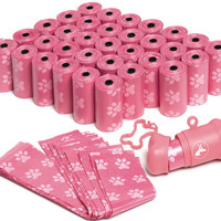 OxGord Dog Poop Bags Biodegradable for 700 Pink Waste Scoops w/ Leash Dispenser