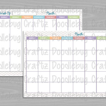 2 Pages - Printable - Monthly & Weekly Planners - Organizer, To Do, Checklist - Chevron Brights - INSTANT DOWNLOAD - The EASY Life