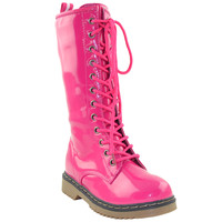 Girls Lace Up Patent Leather Knee High Boots Fuchsia