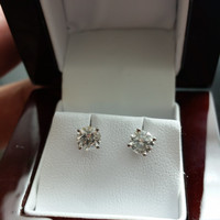 1.05 Carat F SI1 Diamond Earrings 14k White Gold Setting Jewelry Ex Cut  Anniversary Fashion Stunning Sparkle Must See Clean White Diamonds!