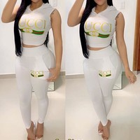 GUCCI Summer Hot Sale Women Casual Print Top Pants Trousers Set Two-Piece Sportswear White