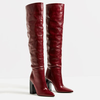 LEATHER HIGH HEEL BOOTS WITH WIDE LEG - View all-SHOES-WOMAN   ZARA United States