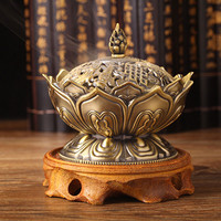 Tibetan Lotus Designed Alloy Metal Craft Incense Burner Home Decor Tools