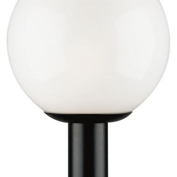 One-Light Post-Top Outdoor Lantern, Black Finish Polycarbonate with White Acrylic Globe