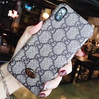 GUCCI Fashion New More Letter Mobile Women Men Phone Case Protective Case Khaki
