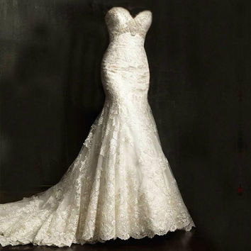 Simple Beading Mermaid Lace Wedding Dress