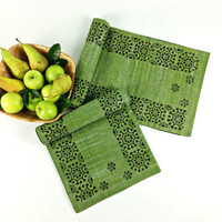 Fern Green Khadi Table Runner, Elegant Table Runner, Block Print Table Runner, Handloom Table Decor, Holiday Decor, Buffet Table Runner