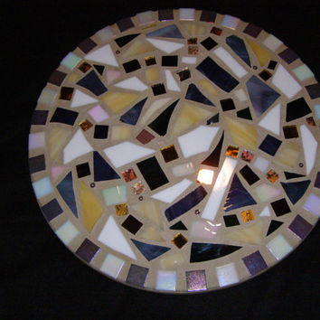 Purple,White,Gold and Yellow Stained Glass Lazy Susan