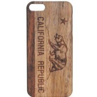 With Love From CA Wooden Cali Bear iPhone 5/5G Case - Womens Scarves - Brown - One
