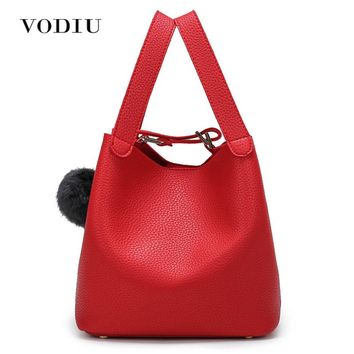 Women Bag Handbag Tote Over Shoulder Crossbody Messenger Leather Female Red High Quality Fringe Fur Bucket Small Girl Cute Bags